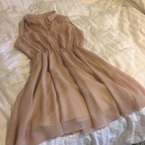 Tan Sheer Cinch Waist Dress